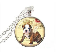 Chain Pendant Necklace Jewelry New Vintage Dog Cabochon Tibetan silver Glass