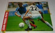 FOOTBALL ONZE 1989 POSTER JEAN-PIERRE PAPIN MARSEILLE OM EQUIPE FRANCE BLEUS