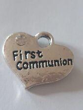 "1 OR 4  ""FIRST COMMUNION "" TIBETAN SILVER RHINESTONE  HEART WEDDING CHARM"
