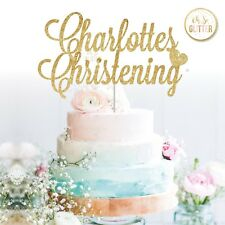 cake topper christening baptism name custom gold glitter silver custom any name