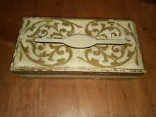 LARGE antique vintage Italian TOLE White Gold FLORENTINE Wood TISSUE BOX Cover