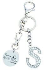 "AM Landen Alphabet S ""I Love you to the moon and back"" Letter S Keychain"