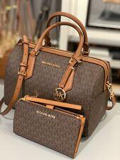 Michael Kors Hayes Large Duffle Satchel Crossbody Brown Bag + Wristlet Wallet