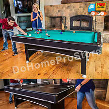 Pool Table Billiard Balls Cue Tennis Tabletop Ping Pong Paddles 2 in 1 Game Room