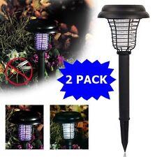 2PACK Solar Powered LED Light Pest Bug Zapper Insect Mosquito Killer Lamp Garden
