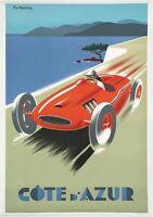 Cote C'Azur Racing Car  - Vintage Art Print Poster - A1 A2 A3 A4 A5