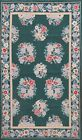 Flat Weave Green Needlepoint Chinese Area Rug Hand-Woven Oriental Carpet 3x5