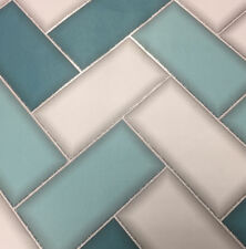 Teal Grey Silver Glitter Chevron Tile Tiling Vinyl Bathroom Kitchen Wallpaper
