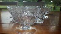 SENECA Driftwood Clear Champagne glass Tall Sherbet Dessert Bowls set of 6 EUC