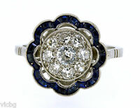 Antique French 1930s Art Deco Diamond and Sapphire Flower Ring in Platinum