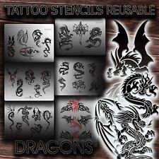 Airbrush Tattoo Stencils REUSABLE DRAGONS New u