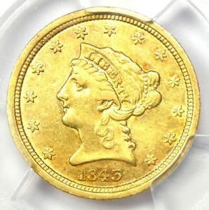 1843-D Liberty Gold Quarter Eagle $2.50 - PCGS AU Details - Rare Dahlonega Coin!