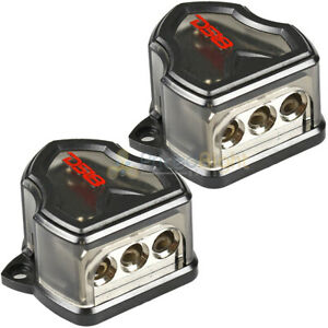 DS18 0 Gauge to 4 gauge 3 way Set Screw Ground Distribution Block AWG 2 Pack