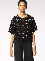 NWT DIESEL Women's Black Polka-Dot Print T-Bren-Short-C Top Large