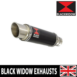 BLACK WIDOW BLACK STAINLESS EXHAUST SILENCER END CAN GP ROUND SLIP ON BG23R