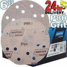 """Norton 23591 8/"""" 80 Grit Norgrip Blue Fire Sanding Discs"""