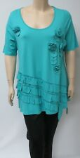 DUTCH DESIGNER YOEK ,MEDIUM TURQUOISE SHORT SLEEVED ADORNED TUNIC,MADE IN TURKEY