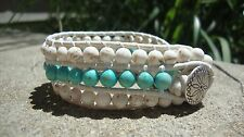White Turquoise and River Stones Leather Beaded Wrap Bracelet Cuff Bracelet  USA