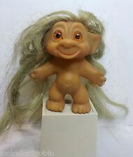 "Vintage Troll doll super long hair hole in head 3""H amber eyes"