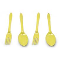set 2 pairs yellow enamel spoon fork enamelware dishes kitchenalia vintage