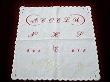 """RARITÄT """"wundervolles ABC Alphabet Tuch, Hand bestickt, """"Rosa"""" Erinnerung"""