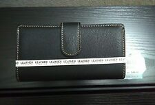 Mundi Leather Forever Wallet- Pebble Black Genuine Leather- With RFID SafeKeeper