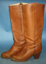 Womens Vintage Zodiac Brown Leather Stacked Heel Campus/Western Boots sz 6 M