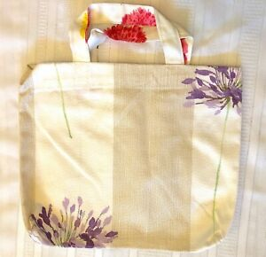 New Handmade Reusable Fabric Cloth SMALL TOTE BAG: Gift Book Lunch PURPLE FLOWER
