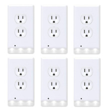 6-Pack Round Outlet wall plate with led night lights Covers with Sensor white