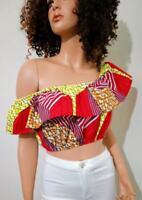 'Sunny' Woman African Print Off-Shoulder Crop Top 100% Wax Cotton Handmade UK