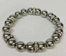 Silver tone 10mm Round Ball Beaded & Rhinestone Stretch Bracelet