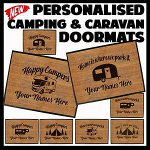CARAVAN DOORMAT Funny Doormats Novelty Door Mat Christmas Home Glamping tent
