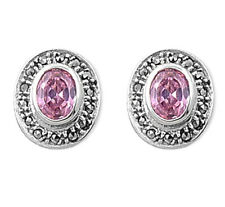 Marcasite Stud Earrings with Pink CZ Sterling Silver 925 Vintage Style Jewelry