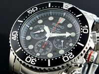 Seiko Solar Mens Chronograph Stainless Steel Divers 200M Watch SSC015P1