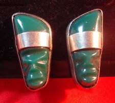Mexican Jewelry Green Onyx Screw Back Earrings Tribal Mask Sterling Silver 01002