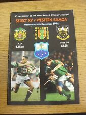 04/12/1996 Rugby Union Programme: Leicester Tigers Select v Western Samoa (sligh