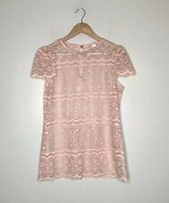 Vintage 60s Pink Lace Overlay Sheer Blouse Cap Sleeve 9/10 Ilgwu