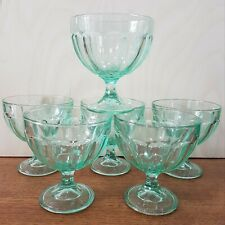 More details for vintage set of 6 x large green sundae dishes glass free p&p 40's 50's trifle
