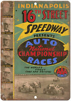 """1952 Indianapolis 16th street speedway car races 10"""" x 7""""  Retro Metal Sign"""
