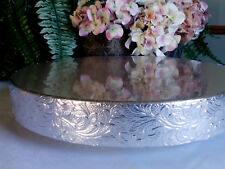 "16"" or 18"" Wedding Cake Stand ""Silver Floral Leaf"" Cake Stand, Riser, Base"