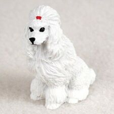 POODLE White Dog TiNY FIGURINE Resin MINIATURE Mini COLLECTIBLE Statue show cut