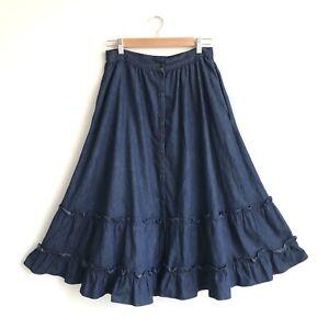 Vintage 70s Jessicas Gunne Sax Denim Prairie Skirt Full Ruffled Tiered Size 12