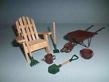 Miniature Fairy Garden set Adirondack Chair Wheelbarrow garden tools and more