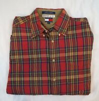 Tommy Hilfiger Vintage Mens Size M Red Plaid Button Front Long Sleeve Shirt