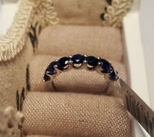 Lab-Created Sapphire Eternity Sterling Silver Fine Rings