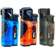 3 PACK Triple Jet Torch Lighter Butane Refillable Adjustable Flame Cigar Puncher