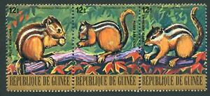 Guinea: 1977 Endangered Animals Airmail: Palm Squirrel Strip of 3 (C141) MNH
