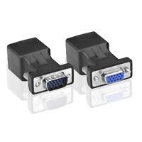 VGA Extender DB15 15pin F+M  Zu LAN CAT5e /6 RJ45 Netzwerk kabel Adapter 100ft