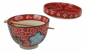 """Ebros Udon Noodles & Tentsuyu Dipping Sauce 6""""D Bowl & Choptick Set (Red Floral)"""