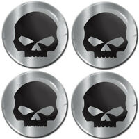 4 x 60mm 3D Gel Silicone Stickers Decals Wheel Center Hub Rims Caps Skull Emblem
